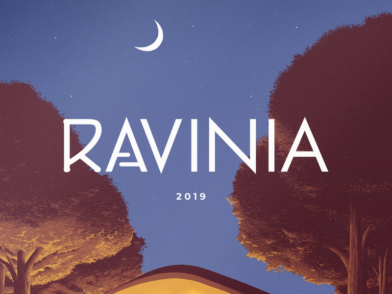 Ravinia Poster 2019 design drawing illustration contest fab design art photoshop painting digital poster trees stars moon venue outdoor festival concert orchestra chicago ravinia
