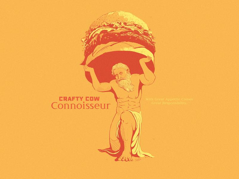 Burger Connoisseur punch card reward restaurant god atlas roman statue greek burger design hand drawn pen ink drawing illustration