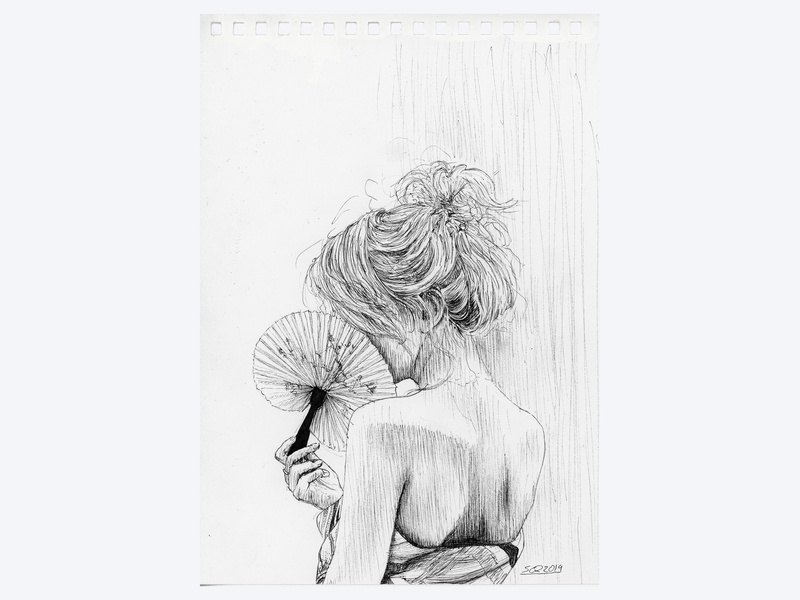June 19 | Playlist Cover Art art cover music playlist shading sketch pen and ink line micron hair girl stipple hand drawn ink illustration ink drawing pen ink drawing illustration