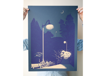 Magic Lantern | Posters for Parks 2019 screenprinting lantern moon nature park parks and rec mpls minneapolis parks art poster art poster screenprint design hand drawn drawing illustration
