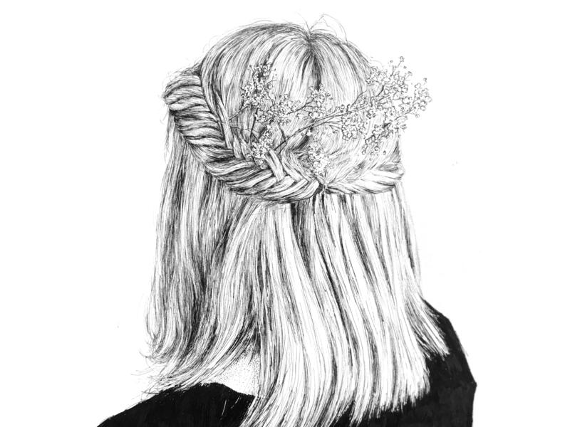 Oct 19 | Playlist Cover Art sean quinn cover art playlist hair girl stipple hand drawn pen ink illustration ink drawing ink drawing illustration