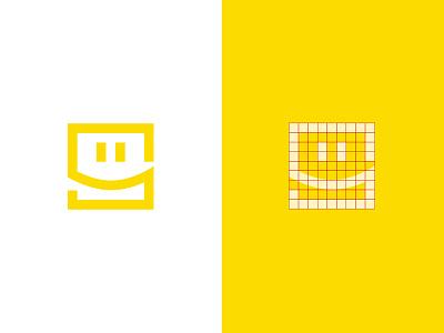 Stikprint yellow logodesign frame print simple design smile symbol logo picture