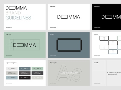 Domma typography simple modular container houses guidelines logo brand identity