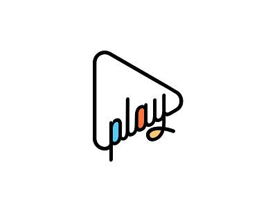 Play simple vector script typography logo play