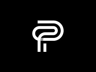 P monogram white black shadow logo simple clip office monogram p