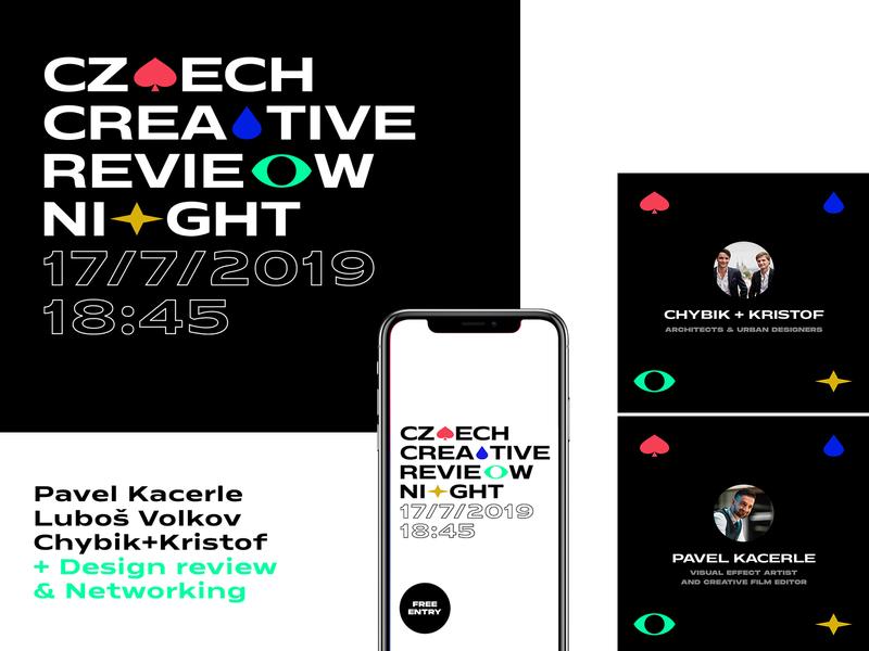 Czech Creative Review Night czech prague portfolio talk review event vector branding simple symbol typography design