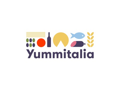 Yummitalia kitchen italy food logodesign vector typography branding illustration logo