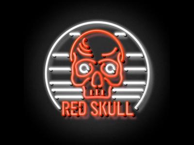 Neon Red Skull fan art red skull skull illustrator