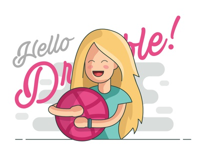 Hello Dribbble blush shadow ball blonde hair cute girl pastels illustration hello dribbble debut