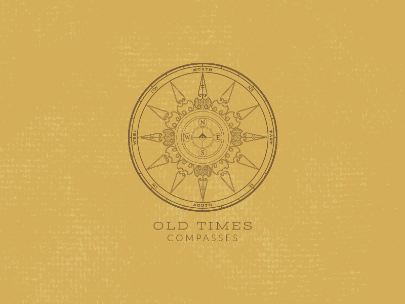 Old Times Logo Design logo retro texture compass badge old crest