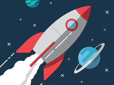 Rocket flat vector illustration graphic design