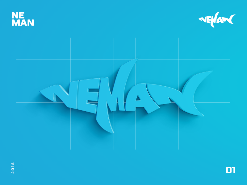 Neman Logo design ocean logo design fish blue shark logo neman