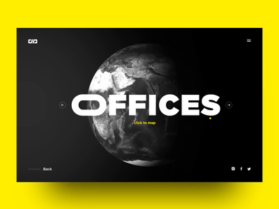 Office Locations Concept Screen web graphic 3d yellow black globe animation ui design maps motion after effect