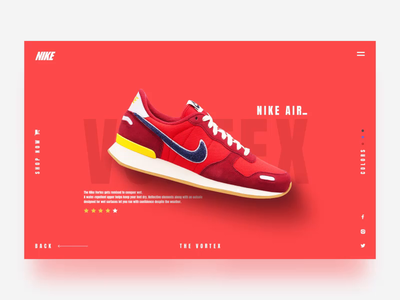 Nike Air Vortex Concept animated transition colors inspiration store shop shoes shoe sneaker blue nike air vortex nike red web ui animation after effect after effects design motion