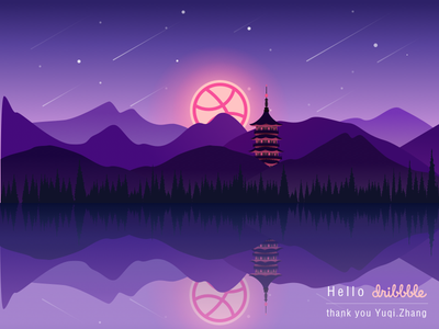 Hello Dribbble lake,pagoda night,west