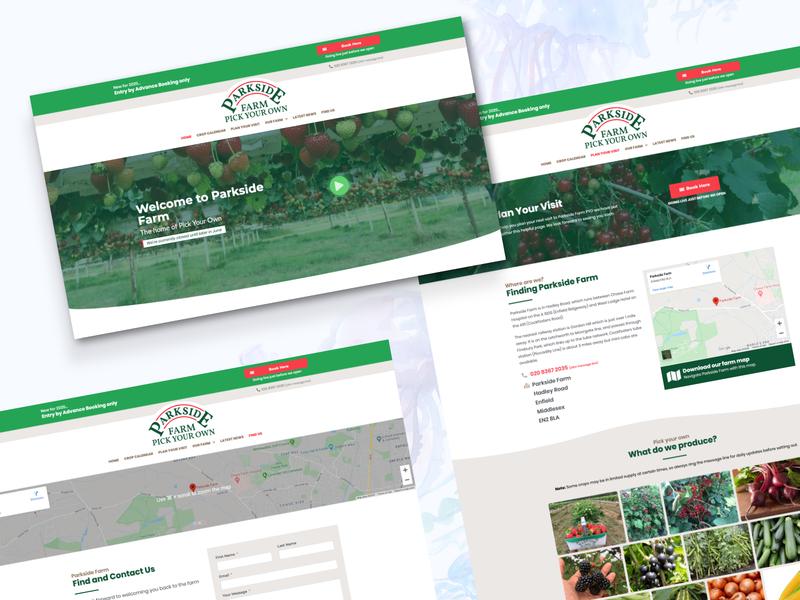 Redesign for Parkside Farm PYO redesign vector logo elementor-pro elementor wordpress development project ui brown red green ux design website