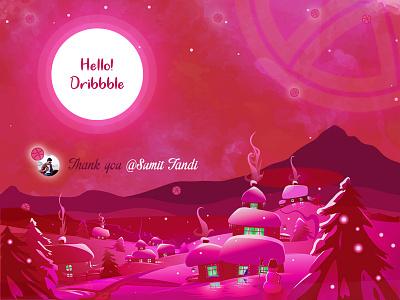 First Shot dribbble pink attractive design love inspiration first shot illustration colors debut shot hello dribbble