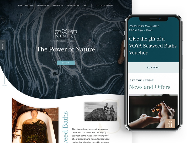 Voya Seaweed Baths brochure treatment sligo ireland web design use interface design web website ui