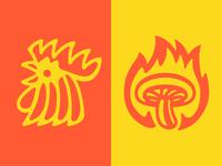 Flaming Mushroom and Chicken