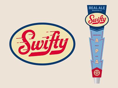 Swifty fast wordmark typography tap handle beer