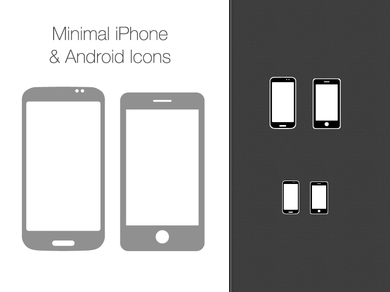 Free Vector Minimal Iphone And Android Icons - PSD vector psd minimal iphone android free icon android icon iphone icon