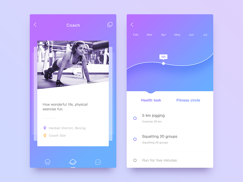 Fitness application interface