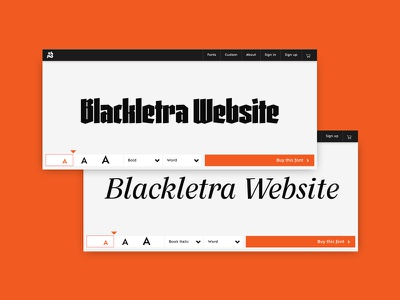 Blackletra  - Live on behance interaction tester component foundry responsive web typography mobile