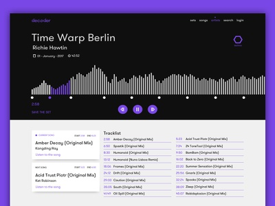 Decoder - Player dj techno electronic typography flat music purple interface player
