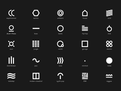 Decoder - Iconography interface music flat typography electronic techno dj iconography icon experimental house