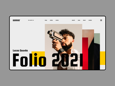 Domino desktop typography web concept clean minimal ui ux flat photography