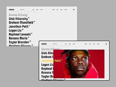 Domino desktop typography web concept clean minimal ui ux flat photography