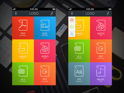 """""""File Manager App Kit"""" Main menu iphone ios application colorful file manager icon ui kit flat"""