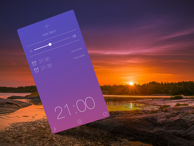 Weather app alarm screen ios iphone application app weather gradient colorful ui time clock temperature
