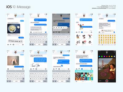 iOS 10 iMessage | Sketch Freebie gui ui sketch message iphone emoji blur app application imessage freebie ios 10