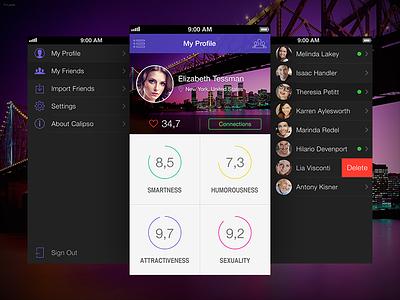 """Calipso"" app dark purple menu rating graph iphone ios night ui application"