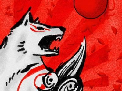 Ōkami legend myth noise cartoon dog japanese sun photoshop illustration fanart capcom okami nintendoswitch photoshopbrush texture cherryblossoms wolf videogame playstation2