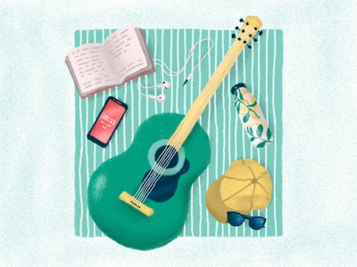 Self-Care Routine illustrator illustration photoshopbrush texture reading podcast guitar keepyourselfbusy entertainment leisure phone green bottle sunglasses cap headphone music selfcare takecare book