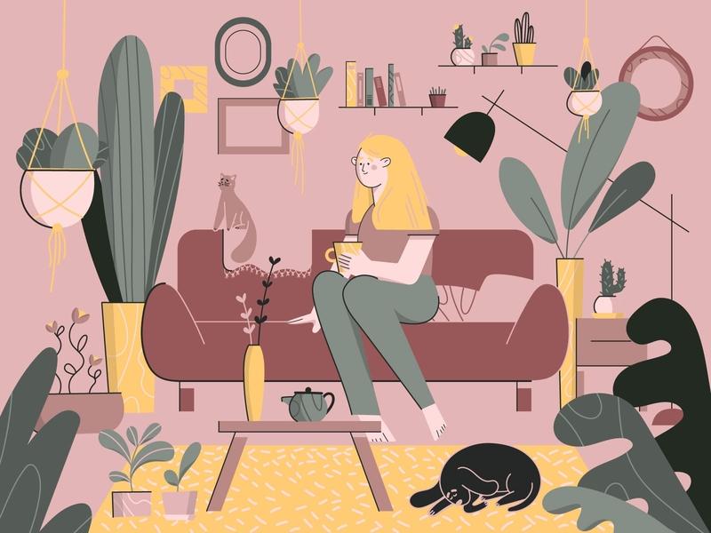 Home Sweet Home illustrator woman vector homesweethome pet happy goodvibes houseplants plants characterdesign girl homy cosy living room home cat dog animal flat design illustration