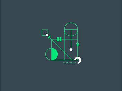 Geometrical test #6 dark green contrast symbol minimalism square circle graphic geometry