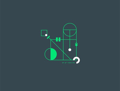 Geometrical test #6 dark green contrast symbol minimalism square circle graphic geometry