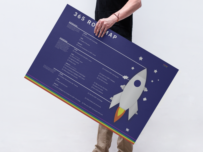 365 LGBT+ Allies Roadmap advocate champion superhero rocket vector icon branding flat visual graphics visual  identity illustration design logo infographic roadmap ibm 365 lgbtqia lgbt