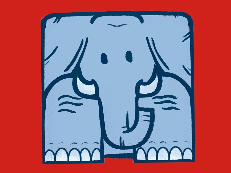 Elephant from a square.  that is all ipad procreate app square elephant