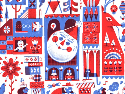 It's a Merry World mary blair its a small world christmas disneyworld disneyland procreate illustration