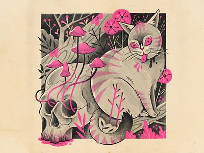 Spoopy Spring illustration digital skull cat procreate spoopy spring illustration halftone
