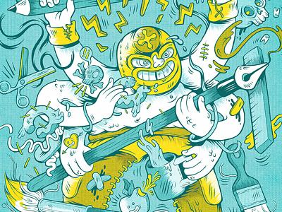 El Imagativo! luchador pencil brush coffee donuts marketing viva poster advertising artist illustration