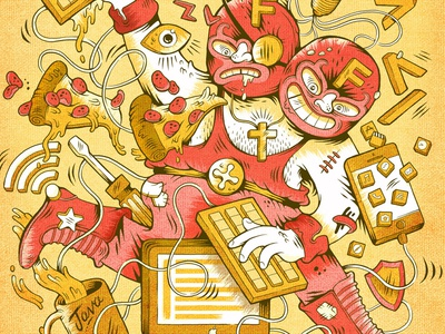 ¡VIVA INNOVATION! wrestler code wifi pizza java viva poster advertising fluid artist illustration luchadore