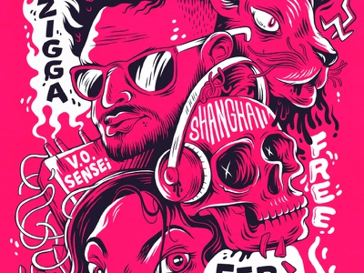 Localized Poster hand lettering gig poster music gig panther screenprint illustration skull