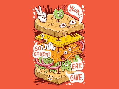 So Gouda illustration sticker sandwich gouda even stevens