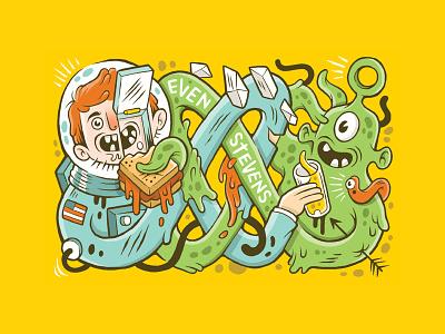 Food Connects Everyone food worm astronaut space even stevens alien sandwich sticker illustration