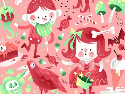 Hansel & Gretal candy fairytale crow bat witch illustration hanselandgretal halloween